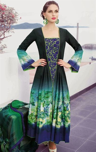 Picture of Tranquil Blue, Bottle Green and Cyan Blue Color Salwar Kameez