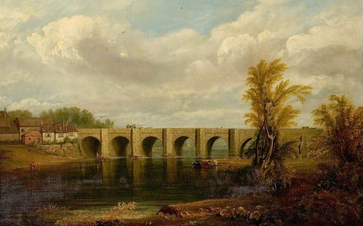 Old Trent Bridge, Nottingham  by John Rawson Walker        Date painted: 1825