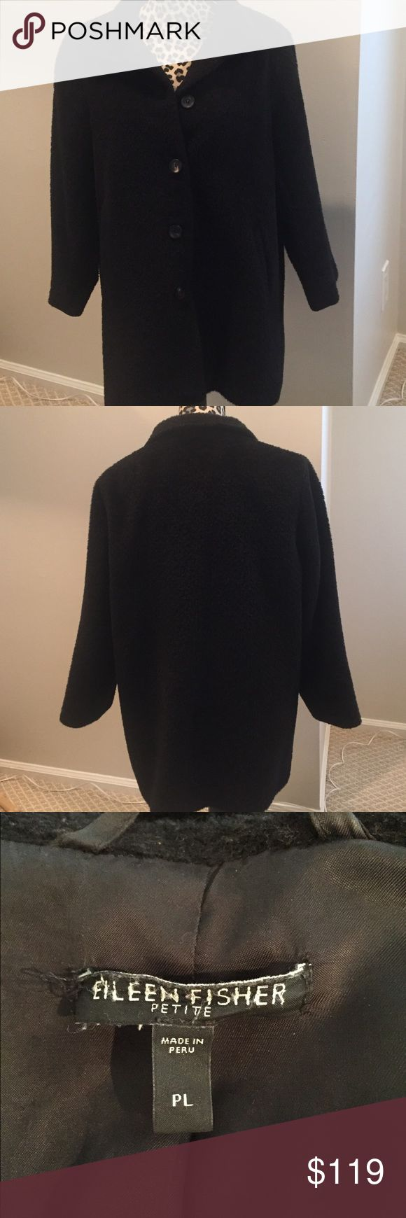 """Eileen Fisher Black Winter Coat Eileen Fisher black button-down lined coat. Size Petite Large. 58% Wool 42% Suri Alpaca. Lining-100% Rayon. Coat length= approximately 31"""". Eileen Fisher Jackets & Coats"""