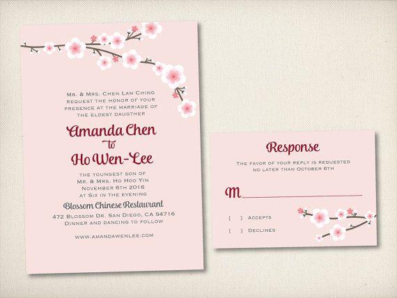 Wedding Invitation Asian Chinese By VintageBellsAndCo