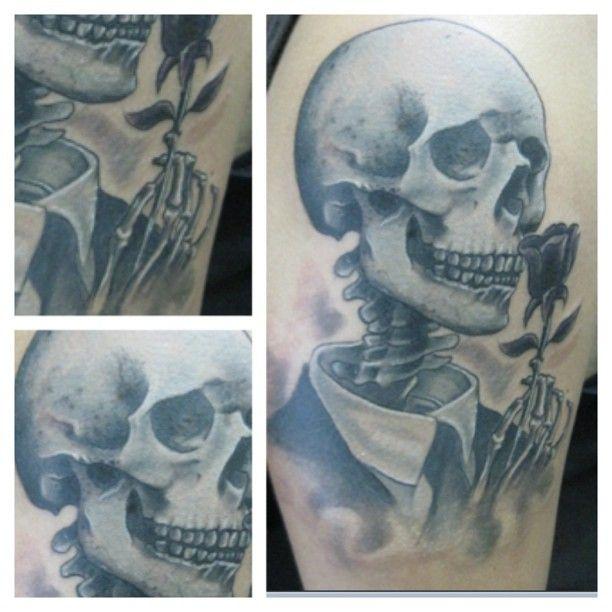 skull, calavera, flor, muerte, Corvux Tattoo  Diana Velasquez