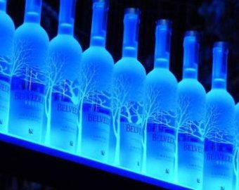 Armana Acrylic 2 ft LED Lighted Liquor Bottle Shelves Shelf Mounted on Wall
