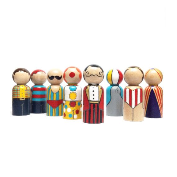 PERFECT CARNIVAL BIRTHDAY PARTY DECOR & FAVORS - the carnival collection circus peg doll set by sweet whimsy designs