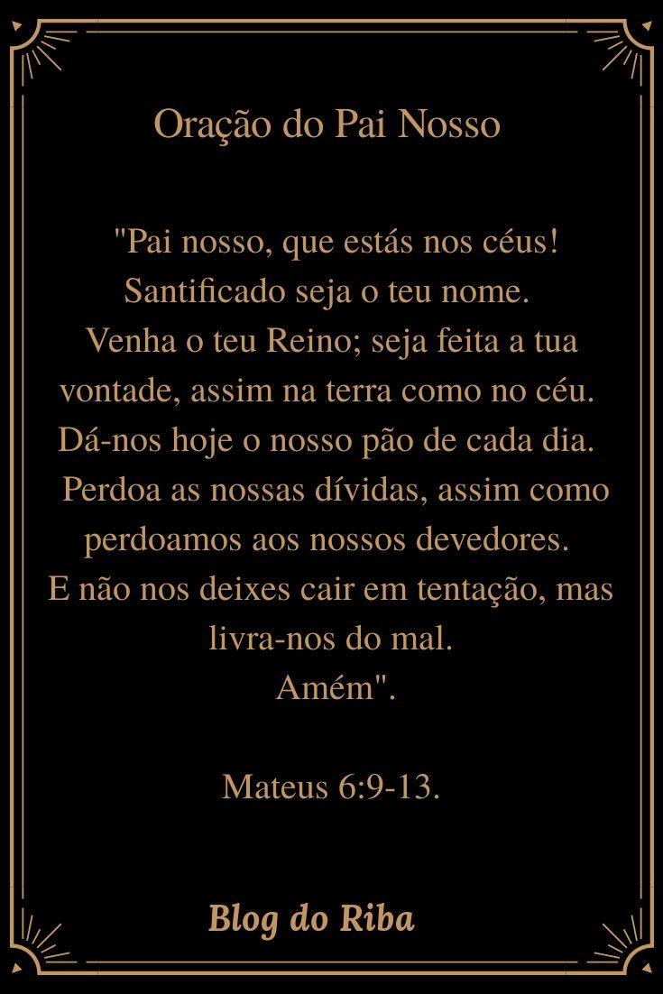 Oração do Pai Nosso. Pai Nosso que estás no céu. | Oração