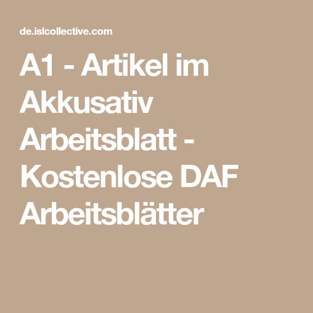 A1 - Artikel im Akkusativ Arbeitsblatt - Kostenlose DAF Arbeitsblätter