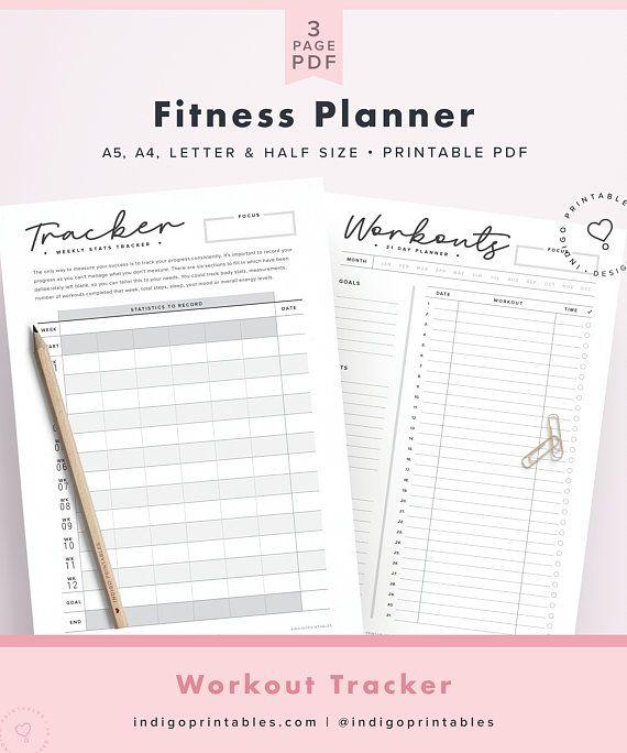 Fitness Planner, Digital Planner, Workout Tracker, Workout Planner, Workout Log, 12 Week Fitness, 31 Day Fitness, Weight Log, Weight Tracker