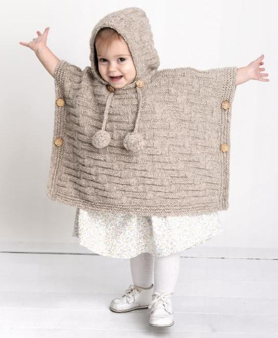 knitted hoodie cape kids beige sand sweater for children knitting idea free