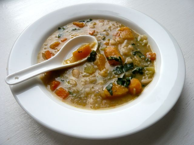 White bean soup... add chicken and maybe use the crockpot. Reminds me of Chilean Charquican.