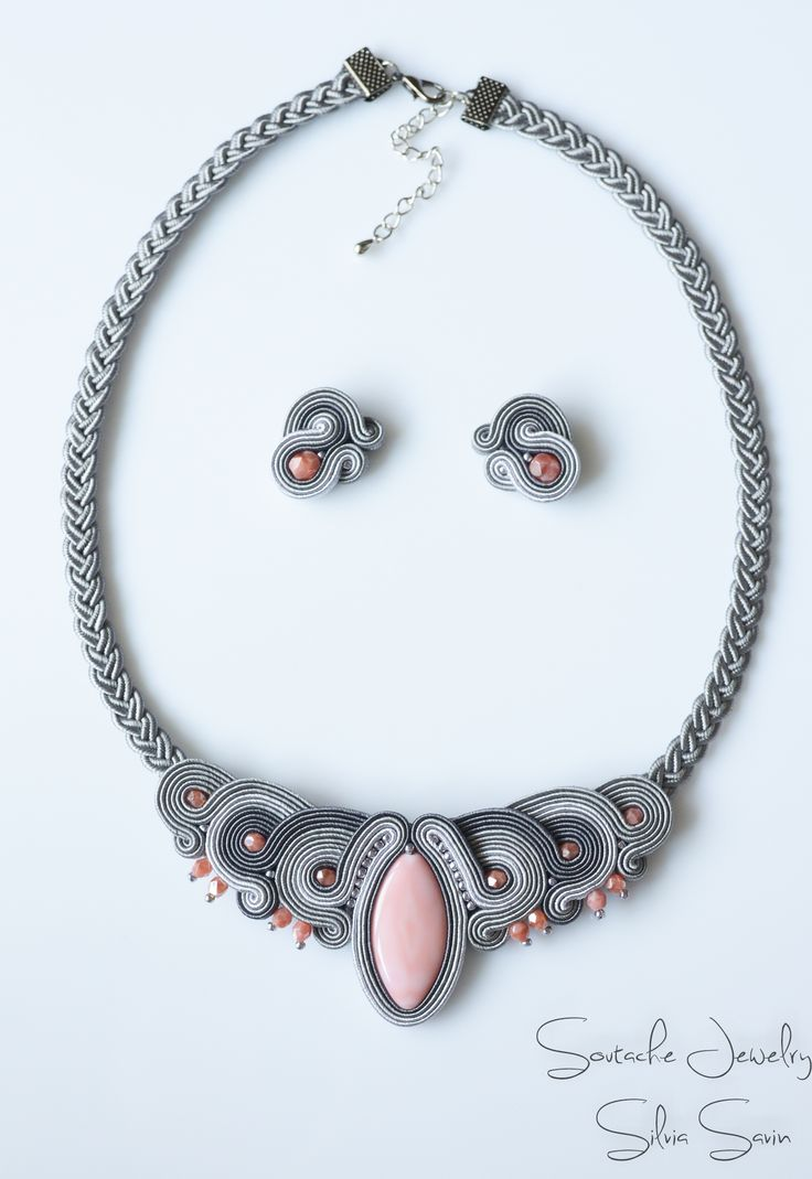 Shades of Grey and Pink Soutache necklace and earrings
