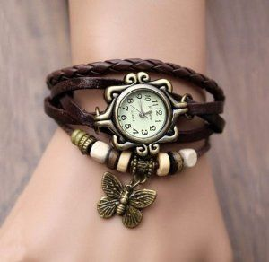 Fashion Accessories Trial Order New Quartz Fashion Weave Wrap Around Leather Bracelet Lady Woman Wrist Watch Brown