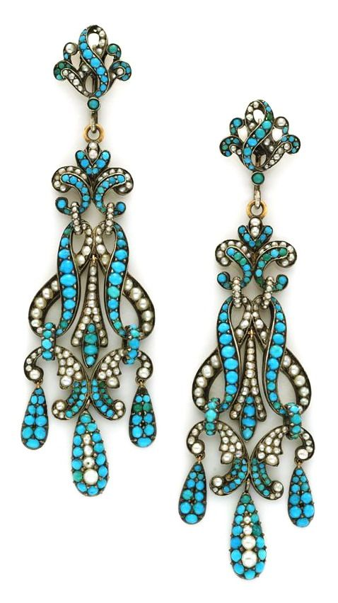 A Pair of Antique Turquoise and Seed Pearl Pendant Earrings, circa 18th century