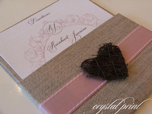 Natural hard covered wrapped pocket wedding invitation.