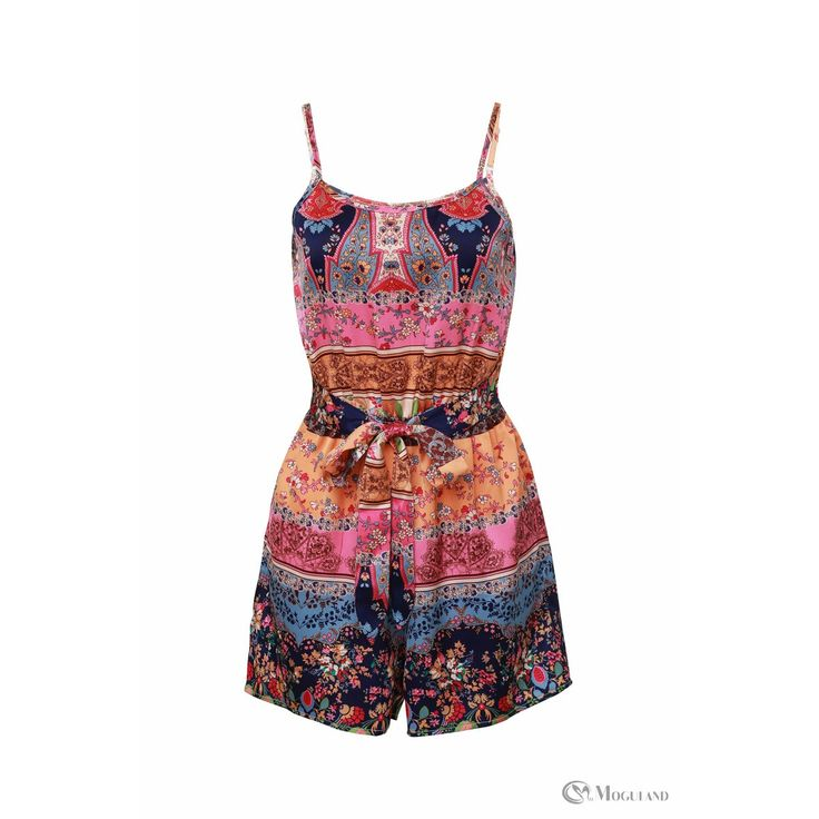 multi-colour floral paisley print strappy playsuit front