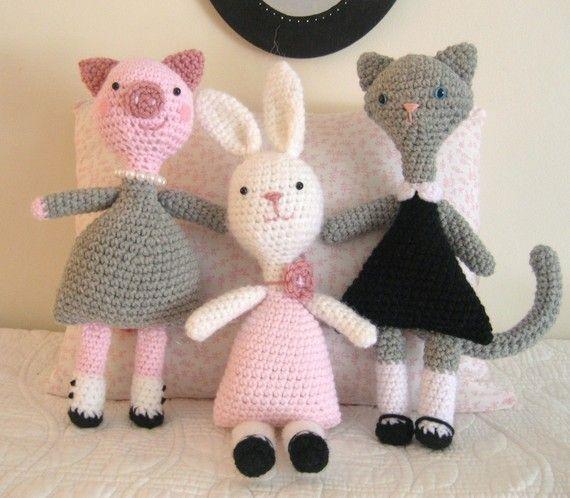 Amigurumi Patterns Crochet Little Animal Girls by AmyGaines, $5.00