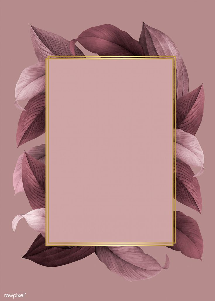 Golden frame on a pink leafy background vector | f…