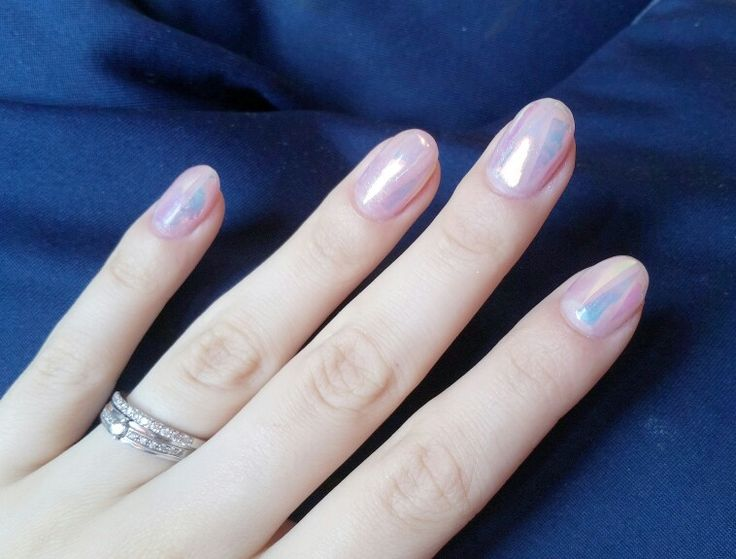 #nail #art #semilac #broken #glass #pink #purple