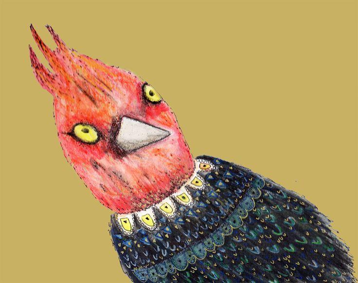 Aves emblemáticas chilenas: Pájaro loco Isabel Cerda www.isabelcerda.com
