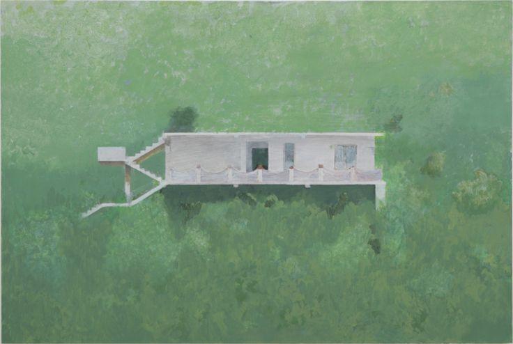Edi Hila, Maison sur fond vert n°1, 2006