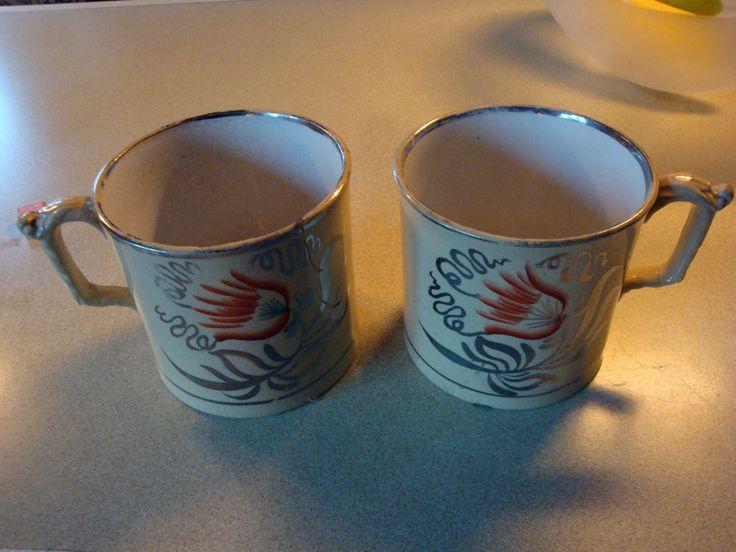 Pair Antique 19th Century Yellow Glaze Silver Lustreware Mugs with Tulip Design
