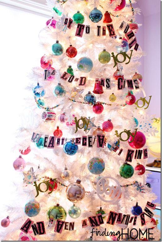 WhiteChristmasTree thumb Vintage White Joy to the World Christmas Tree