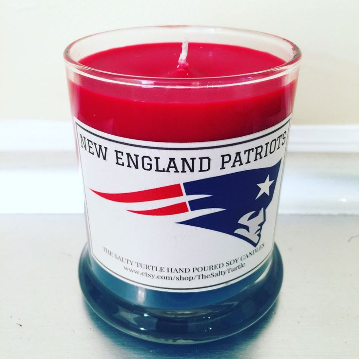 New England Patriots NFL Custom Hand-Poured Natural Soy Candle in the 12 ounce Status Jar by TheSaltyTurtle on Etsy