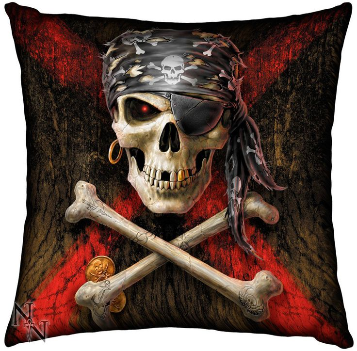 Cojín Rockero Calavera Pirata #skull #cushion #pirate #rock #gothic #gotico #decoracion #xtremonline