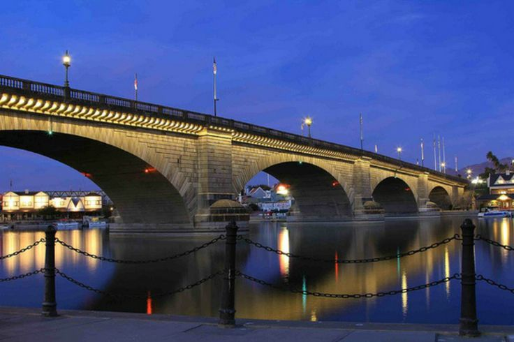 London Bridge, Lake Havasu, Arizona Relocated 1831 bridge that once spanned The Thames River in England until it was dismantled and brought here.