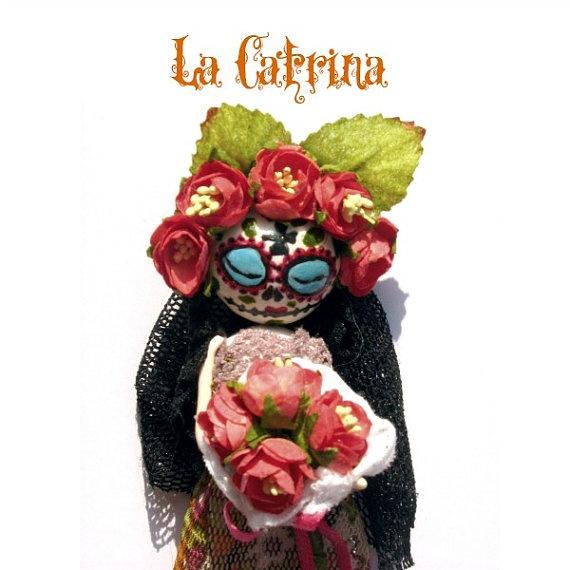 Pendant Marleen Doll  look La Catrina by JudithSara on Etsy, €30.00