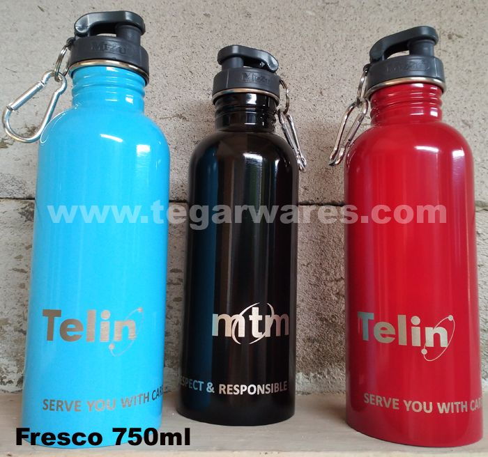 TELIN or PT. Telekomunikasi Indonesia Internasional is a company subsidiary of Telkom Indonesia. Furthermore PT TELIN has named PT Media Telekomunikasi Mandiri engaged in high-tech solutions. They ordered a Fresco 750ml bottles to Tegarwares as the main distributor of stainless bottles for promotional merchandise with marking company logo Telin and PT MTM and their tagline: Serve You With Care, Respect & Responsible For merchandise to break the fast event in Ramadhan this year.