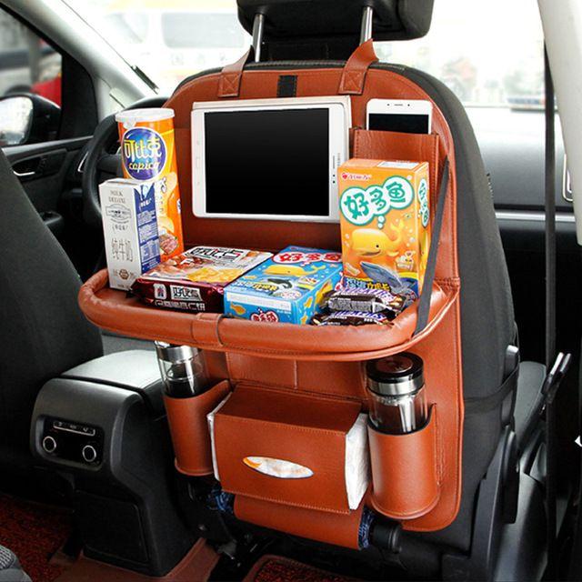 Multi-Pocket Car Back Seat Organizer Drink Hanging Holder Bag Storage PU Leather