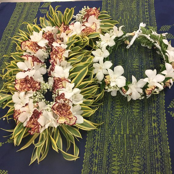 Carnation orchid tongan style lei set