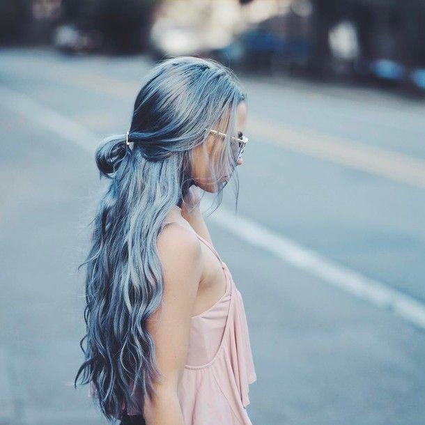 Hair accessory: tumblr hair long hair blue hair hair clip sunglasses top pink top pastel hair