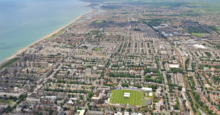 Hove from the air - the County Ground, home of Sussex County Cricket Club, is in the foreground