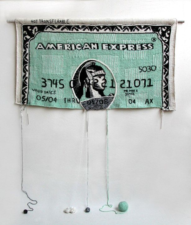 giant unraveling credit card made from yarn by artist Dimitri Tsykalov