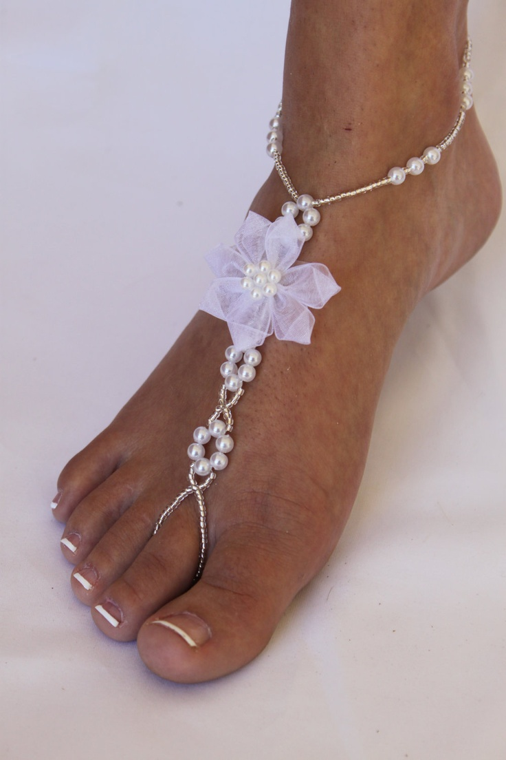 Beach Wedding Barefoot Sandals with Pearls and Organza Flower Foot Jewelry for Bride and Bridesmaids