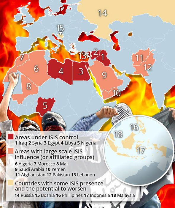 a map showing where isis control and where they could takeover next