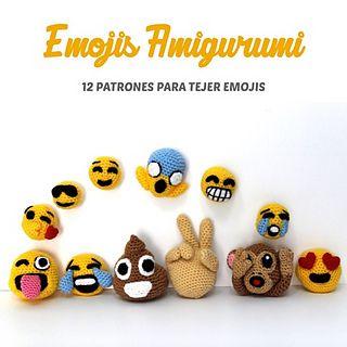 Descarga los patrones para tejer estos 12 Emojis: Carita beso, carita dientes, carita gafas de sol, carita grito, carita risa, carita llorando, carita enamorada, carita sonriente, carita lengua fuera, mano, caquita sonriente y monito.