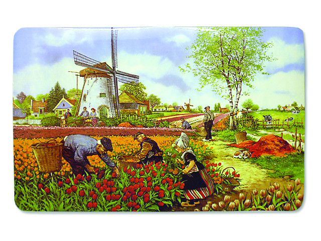 A kitchen placemat featuring a classic Dutch scene in a tulip field pciking tulips which is painted by famous Dutch landscape artist JC van Hunnik. - Approximate Dimensions (Length x Width x Height):