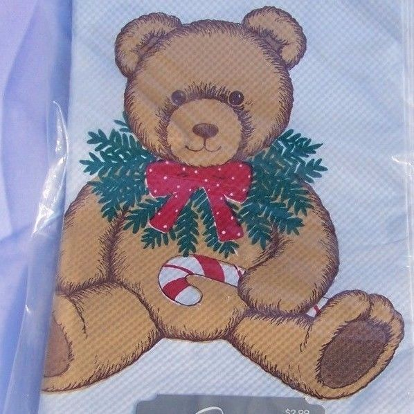 Carlton Cards Christmas Paper Table Cover Teddy Bear Holiday Tablecloth Vintage #CarltonCards