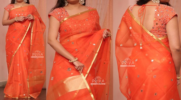 PV 3150 : Orange OrganzaPrice : 4700u20b9An out and out orange organza saree with real mirror studding.Unstitched blouse piece - Orange mirror and pearl work net blouse piece as shown in the pictureFor Orders please drop us an email to privacollective@gmail.com or call us at 9160560480/9989888510