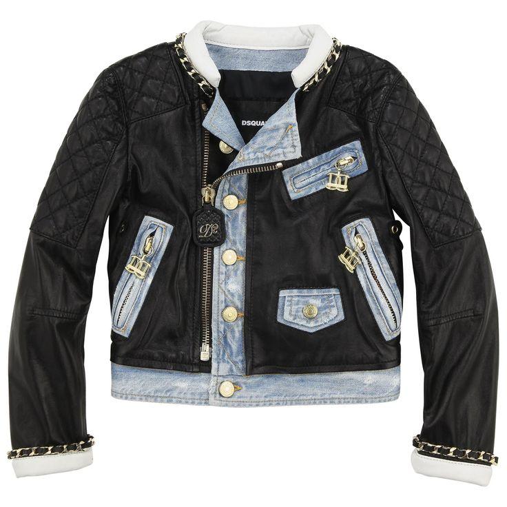 Dsquared2 Veste zippée en cuir noir et denim stoné bleu clair