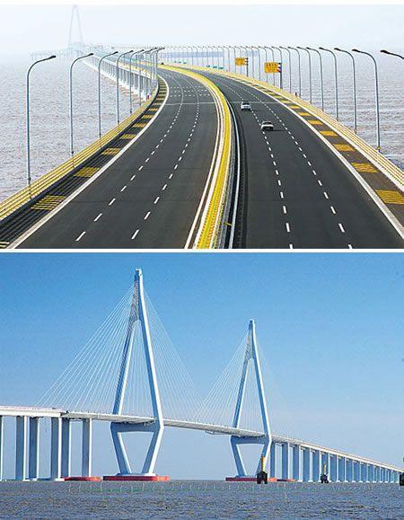 A travers la baie de Hangzhou s'étend le plus long pont trans-océanique dans le monde, avec 35673 km (22 mi) de long avec six voies d'autoroute dans les deux sens. Le pont a été construit pour répondre à la congestion du trafic dans la région en plein essor, réduisant ainsi le temps d'entraînement entre Shanghai et Ningbo de quatre à deux heures et demie. Henderson, Hangzhou Bay Bridge, pont roulant, Oliveira Pont, vent et pluie Bridg) - ODDEE