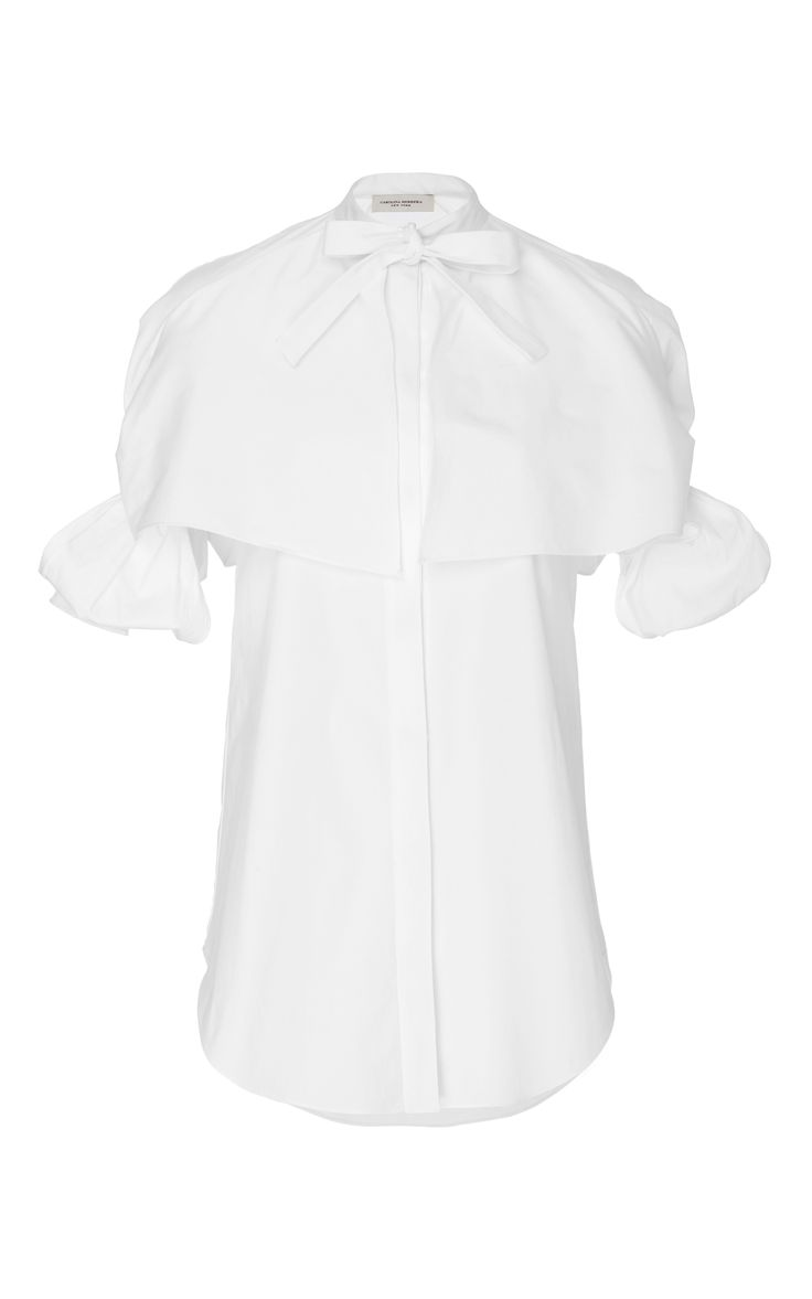 Bow-Sleeve Stretch Cotton Blouse by CAROLINA HERRERA for Preorder on Moda Operandi