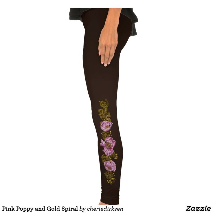 20% off this #BlackFriday2017 --- Pink Poppy and Gold Spiral Legging Tights