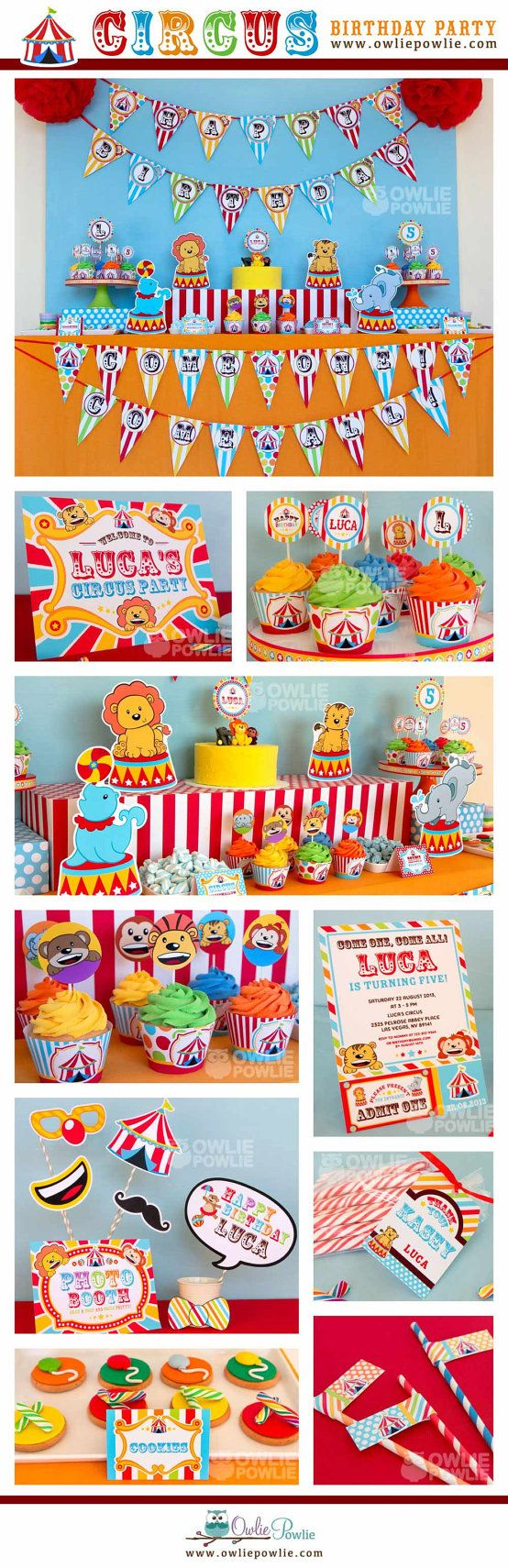 Circus BIRTHDAY Party Printable Package & Invitation, INSTANT DOWNLOAD, You Edit Yourself with Adobe Reader on Etsy, $29.00