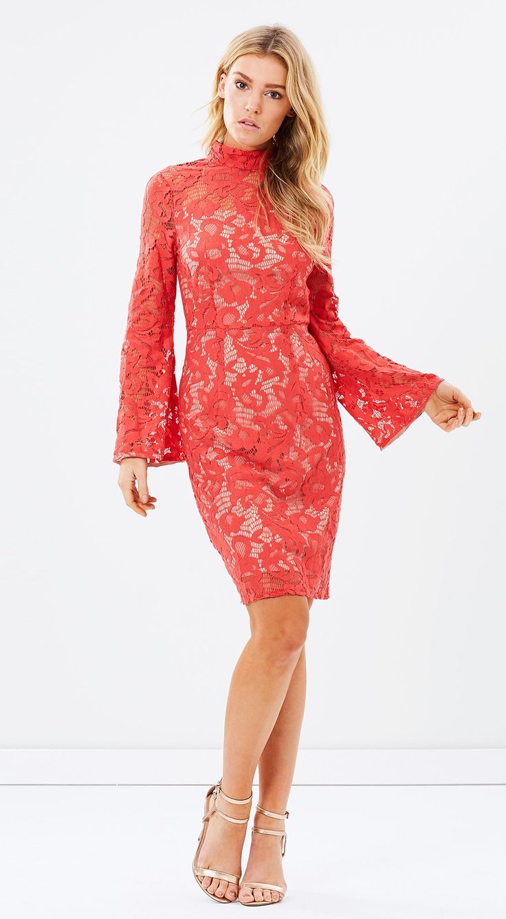 Cooper St - Little Moments Bell Sleeve Red Lace Dress