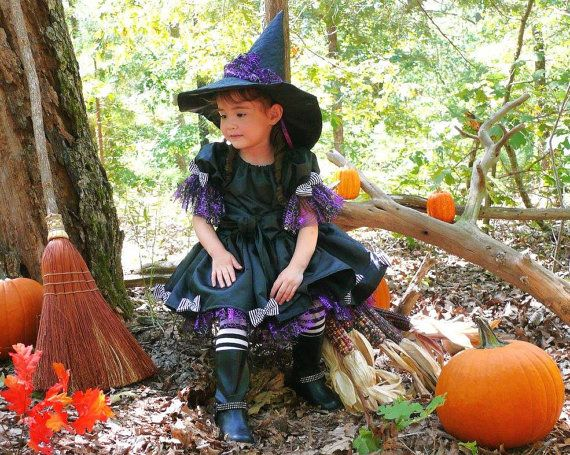 Toddler-Girls Witch Halloween Costume-Pageant Dress, Black Taffeta and Purple Web Tulle, Hat-Petti-Tights Included, Size 12 month - 8