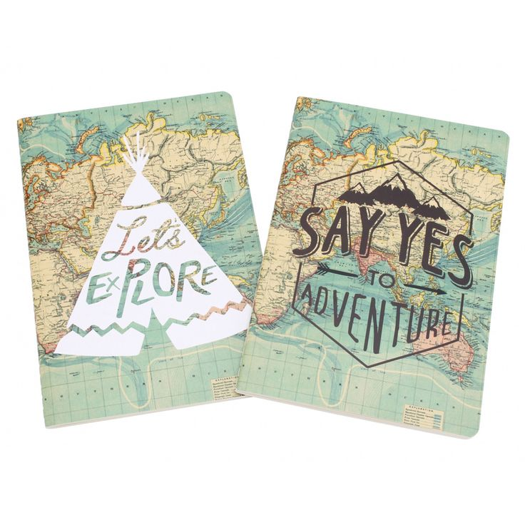 Say Yes To Adventure &  Let s Explore  Set of 2 A5 Notebooks Gift