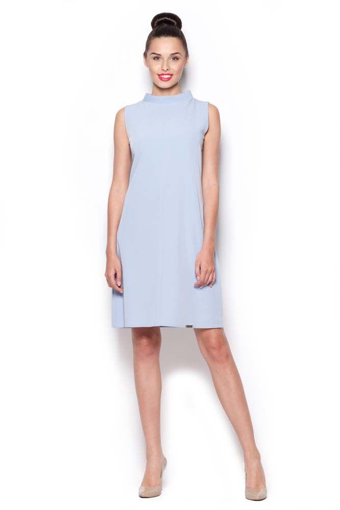 Sukienka ze stójką bez rękawów