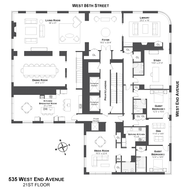 535 west end avenue new york penthouse architecture floor plans design ideas fun in the - Lay outs penthouse ...